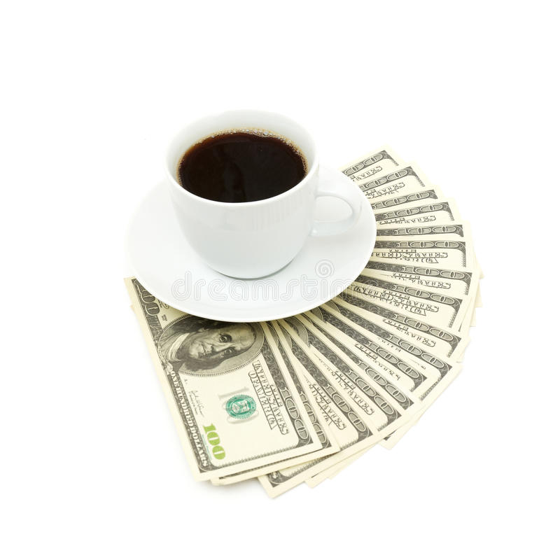 Coffee cup and dollar close up royalty free stock image