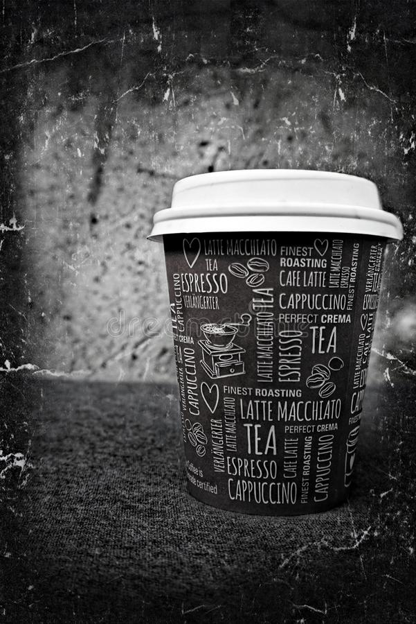 Coffee cup. Black and white coffee cup edited in Photoshop royalty free stock photo