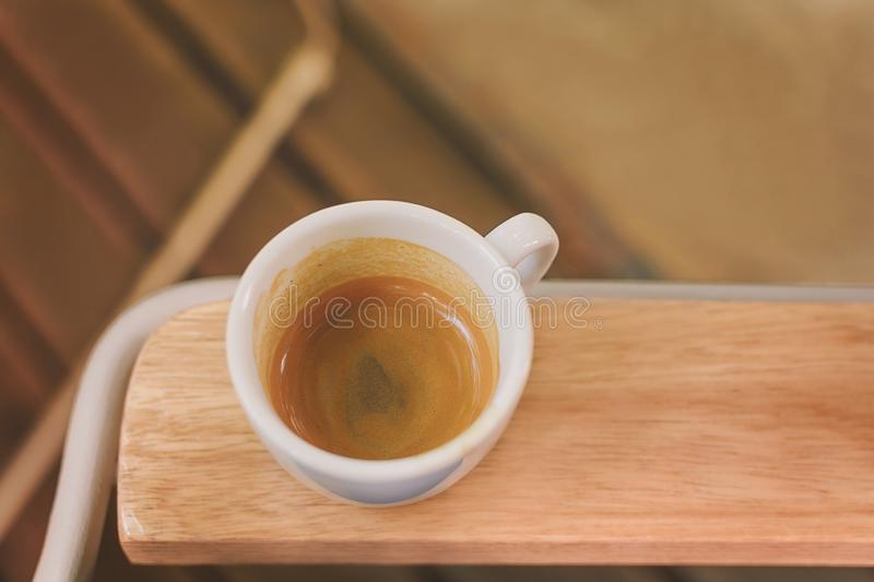 Coffee cup, Coffee Espresso Cup Of Coffee on a chair. Close royalty free stock photography