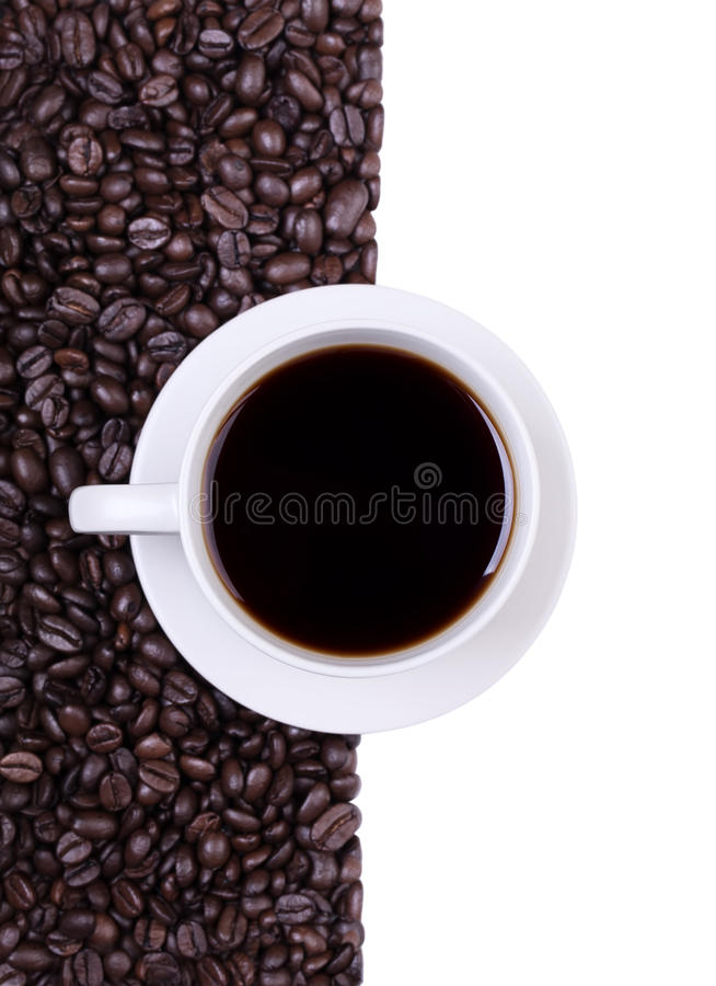 Coffee cup with espresso coffee beans stock photos