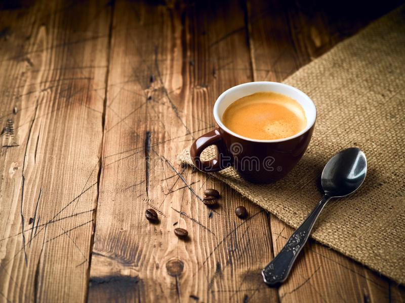 Coffee cup espresso. Over rustic wooden background royalty free stock photo