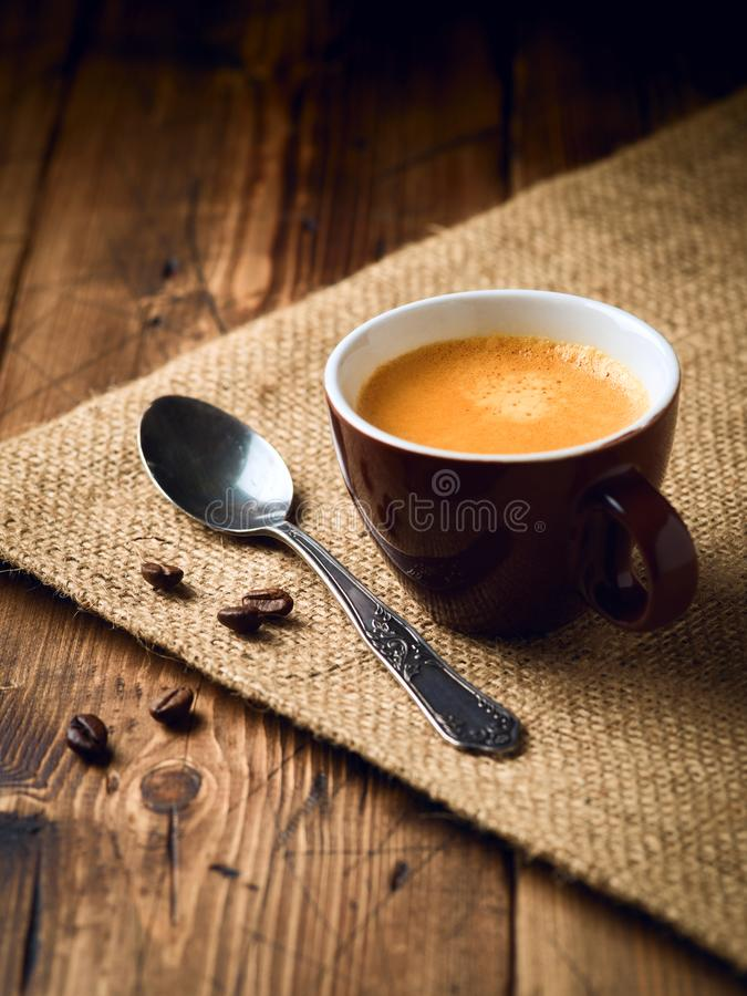 Coffee cup espresso. Over rustic wooden background stock photo