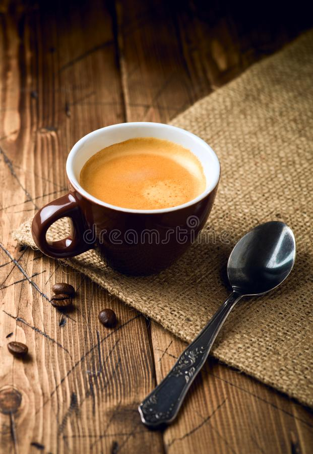 Coffee cup espresso. Over rustic wooden background royalty free stock photos