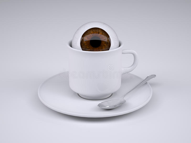Coffee cup with eyeball inside. 3d illustration vector illustration