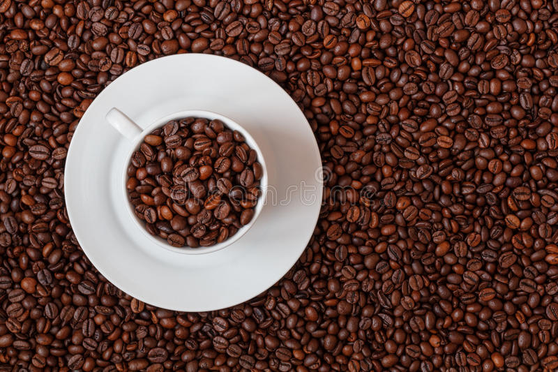 Coffee cup filled with coffe beans stock image