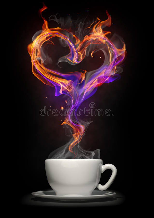 Coffee cup with a fire heart stock illustration