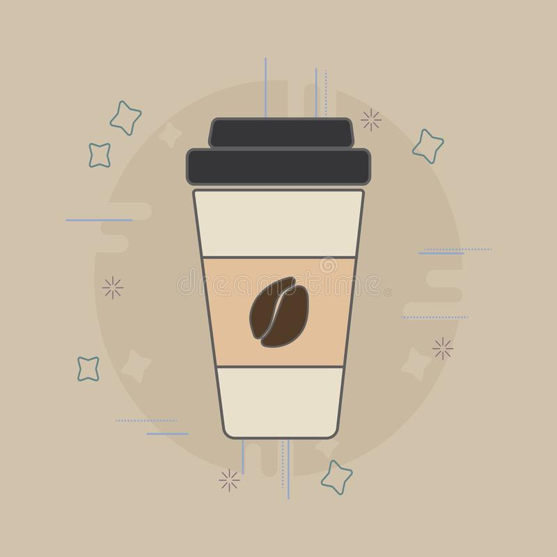 Coffee cup flat icon. Coffee to go royalty free stock photo