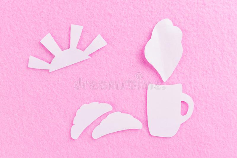 Coffee cup and fresh baked croissants. Concept image stock image
