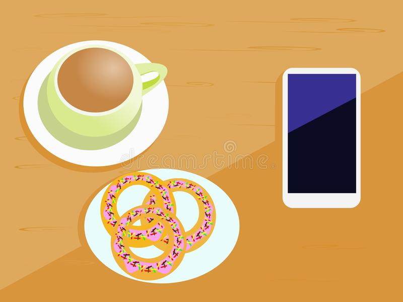 The coffee cup has a donuts and a mobile phone on a brown wood table royalty free illustration