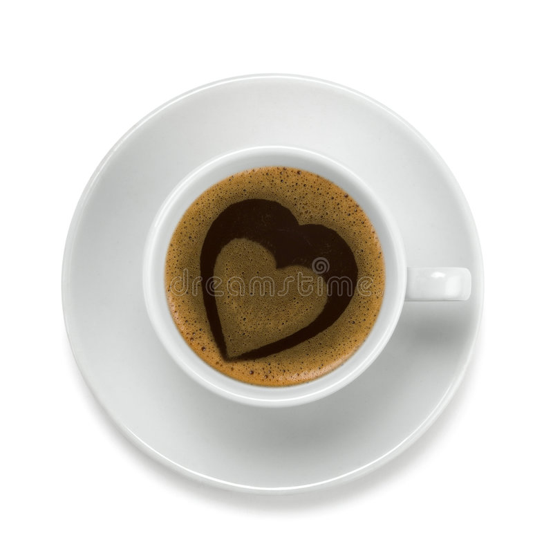 Coffee cup with heart stock photography
