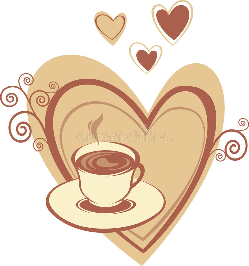 Download Coffee cup with heart stock vector. Image of caffeine - 12110061