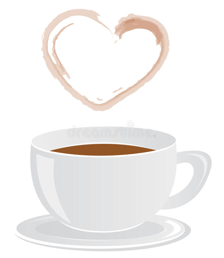 Coffee cup & heart-shaped steam