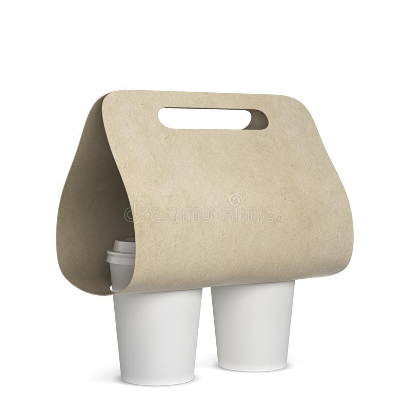 Coffee cup holder mockup. 3d illustration isolated on white background royalty free illustration