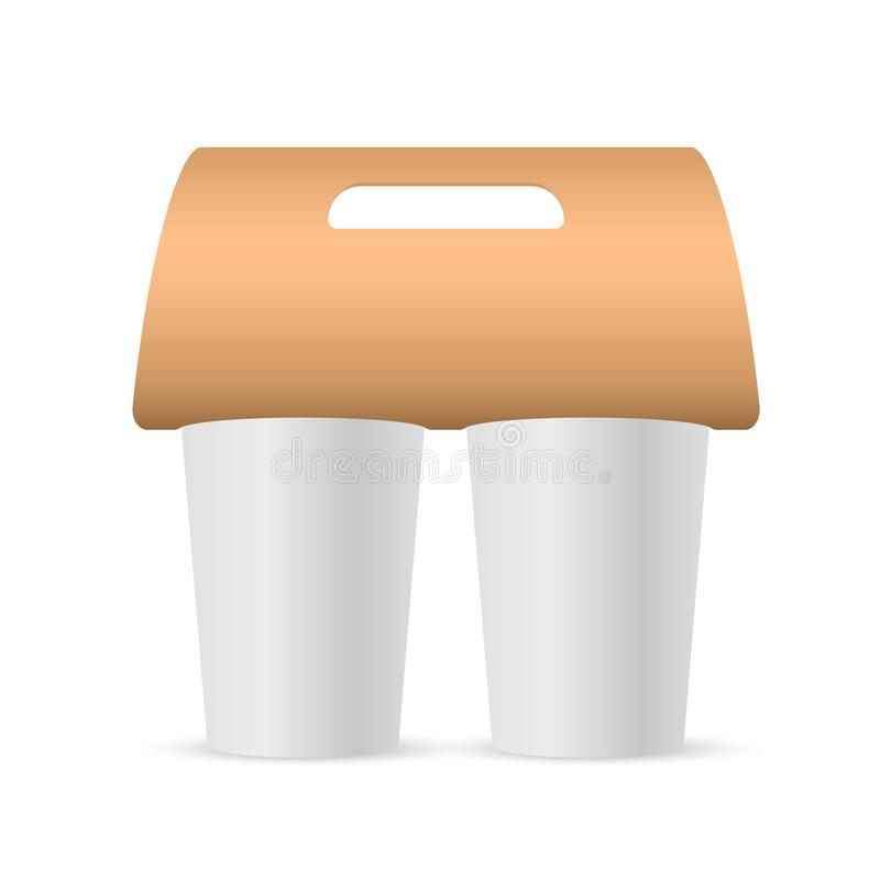 Coffee cup holder paper. Blank coffee cup carrier mockup. Vector stock illustration stock illustration