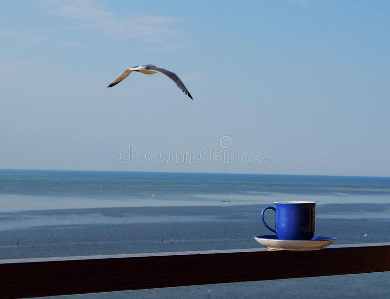 Coffee cup with horizon line over the sea and a seagull in the sky. Blue Coffee cup with horizon line over the sea and a seagull in the sky stock image
