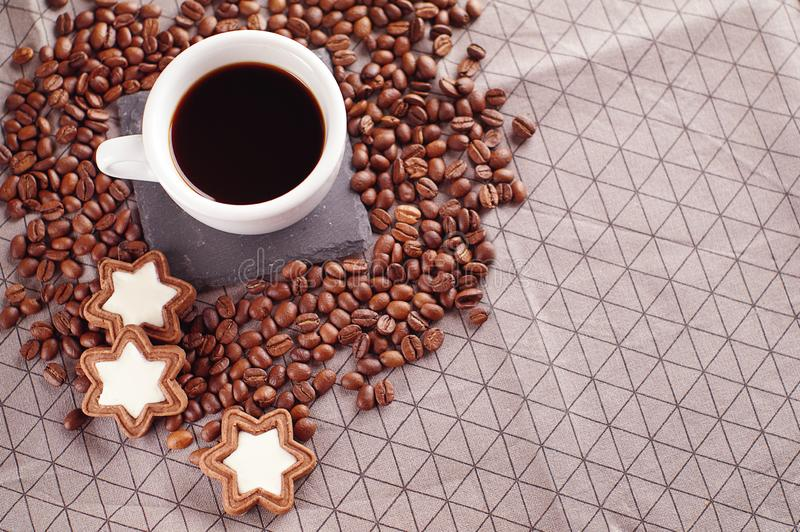 Coffee cup or hot chocolate with cookies, Top view, space for text stock images