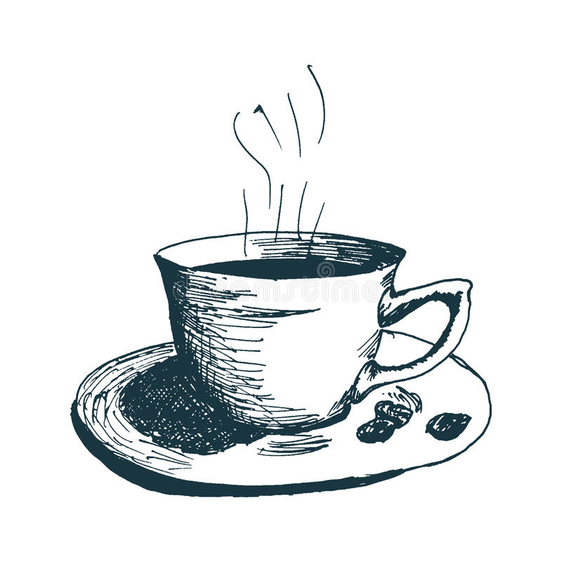 Free Coffee Cup, Hot Morning Coffee Hand Drawn Sketch Vector Illustration. Royalty Free Stock Image - 94533876