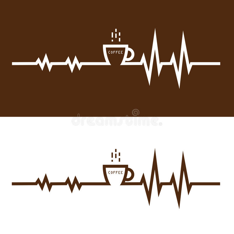 Coffee cup icon and electrocardiography icon vector logo design. Template. Electrocardiography before and after coffee break concept.vector illustration royalty free illustration