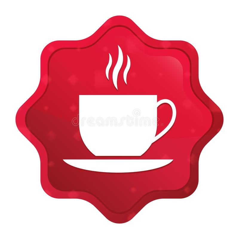 Coffee cup icon misty rose red starburst sticker button vector illustration