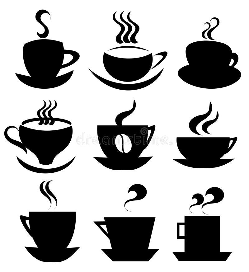 Coffee cup icons collection stock illustration