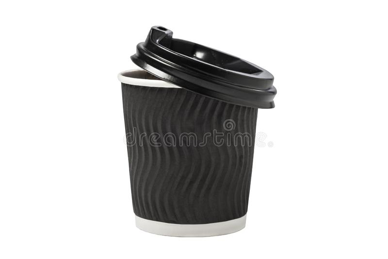 Coffee Cup Isolated. Black paper cup Isolated on white background.  stock image