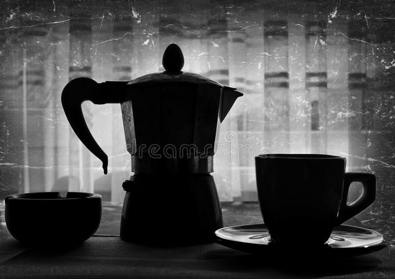 Coffee cup and kettle. Silhouette of a coffee cup, kettle and a ashtray royalty free stock images