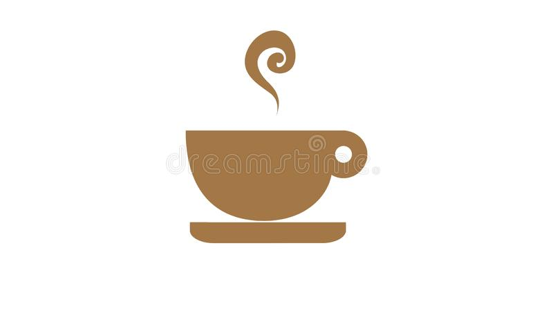 Coffee cup logo with smoke on white background. Illustration, drink, chocolate, new, brown, design, simple, element, flat, icon, sticker, creative, banner stock photography