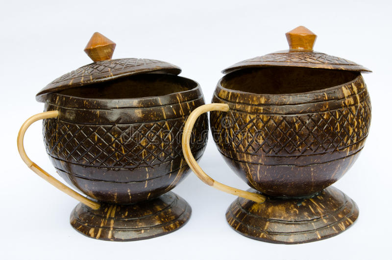 Coffee cup made of coconut shell