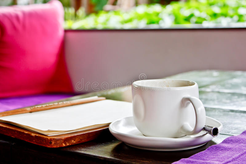 Coffee Cup And Menu Book Royalty Free Stock Photos