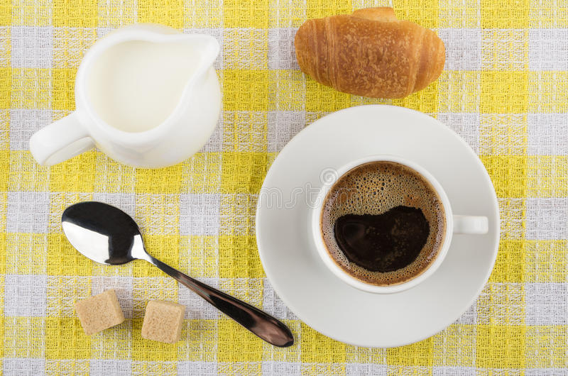 Download Coffee Cup, Milk Jug, Croissant, Sugar And Spoon On Napkin Stock Photo - Image of healthy, milk: 89327126