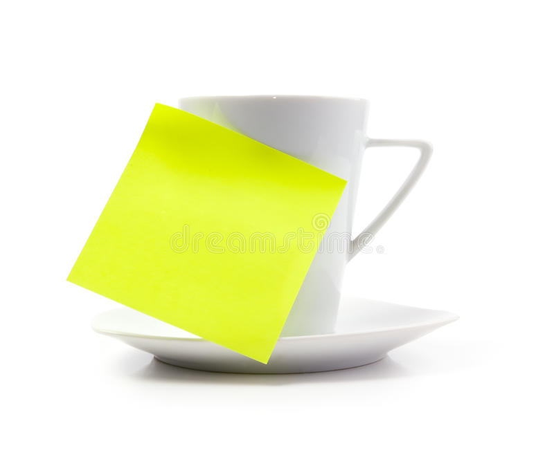Coffee Cup With Note Stock Images