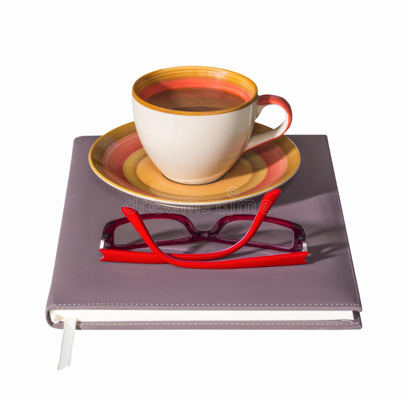 Download Coffee cup on notebook stock image. Image of brown, morning - 33567315