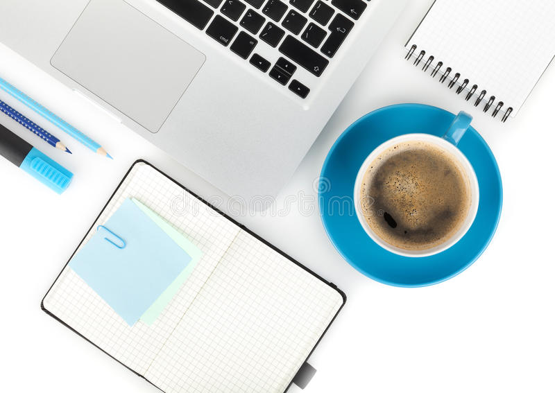 Coffee cup and office supplies stock photography