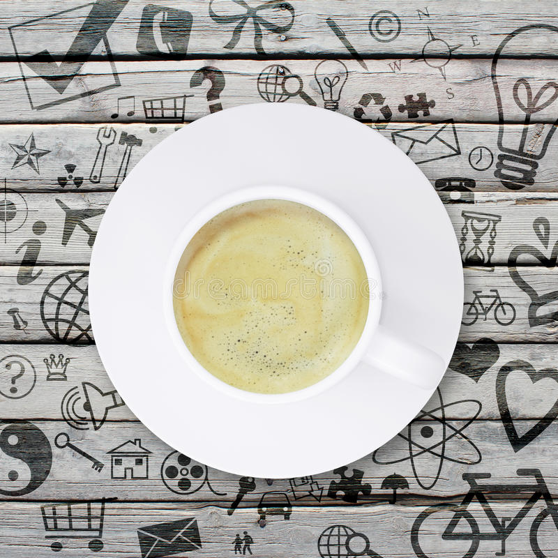 Coffee cup on an old wooden surface stock images