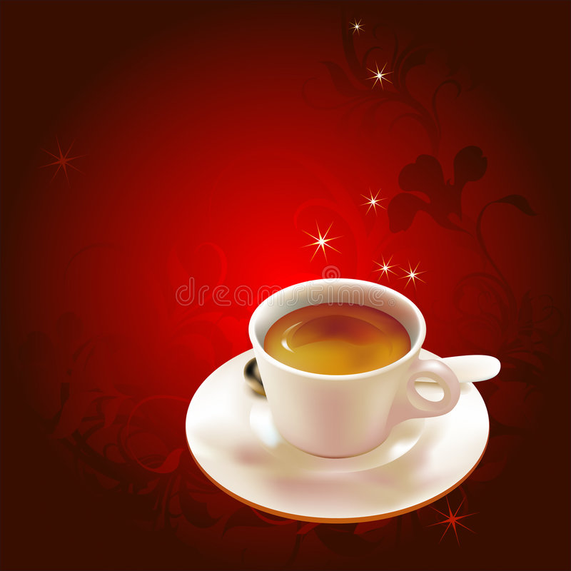 Coffee cup on plate royalty free illustration