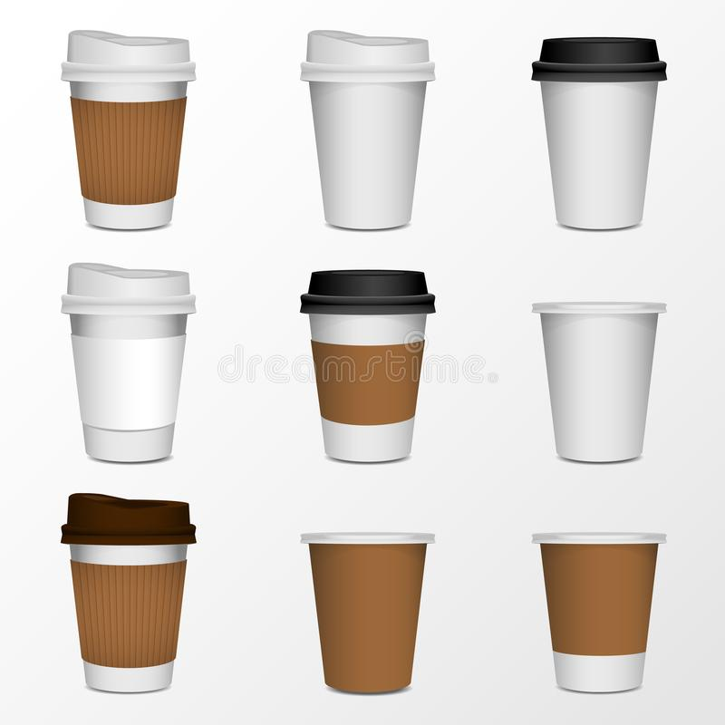 Coffee cup product mock up, isolate on white stock illustration