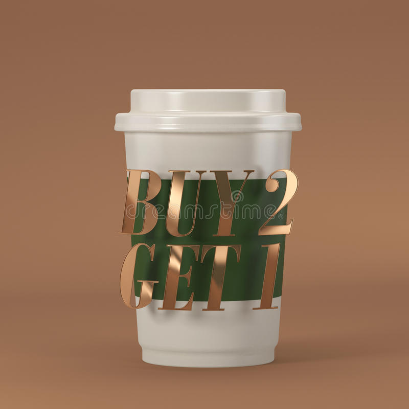 Coffee cup with quote buy 2 get 1 3D rendering stock photography