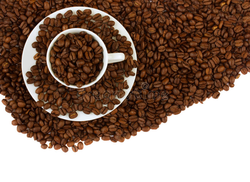 Download Coffee cup and raw beans stock image. Image of design - 23894513