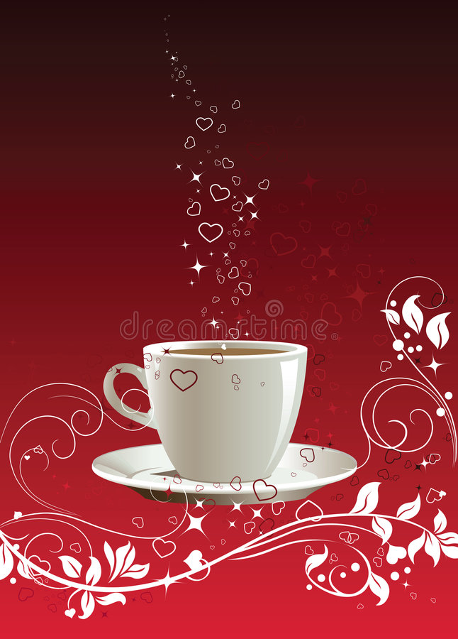Coffee cup on a red background royalty free stock photo