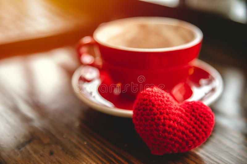 Coffee cup with red heart for love to drinking coffee or meeting date stock images