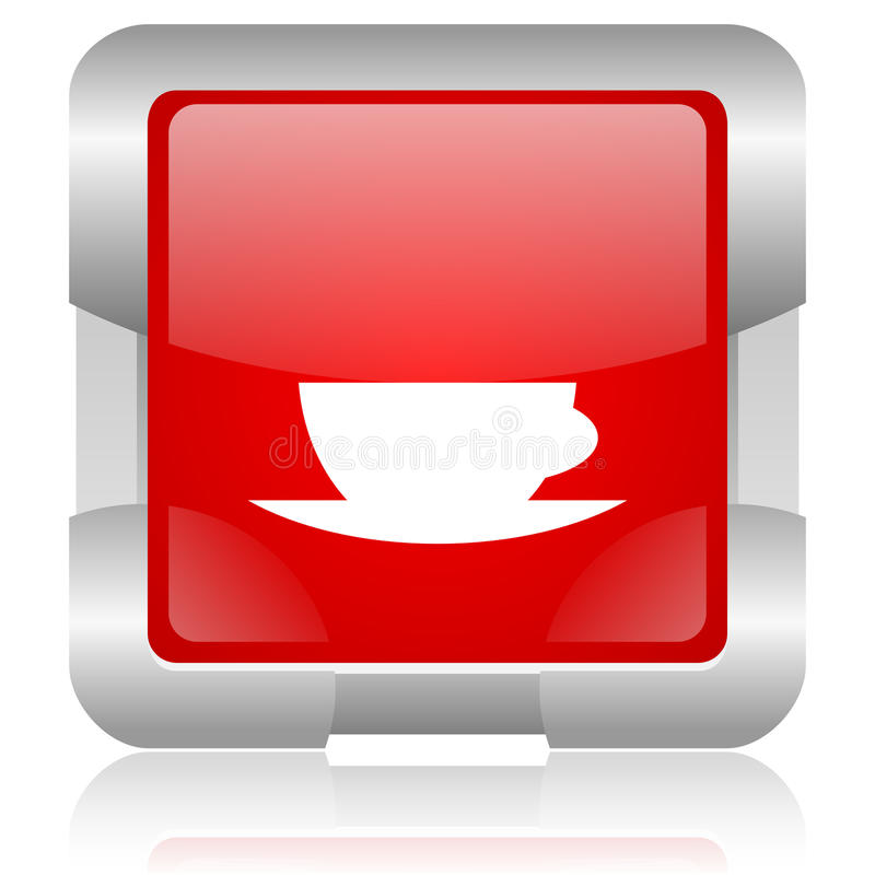 coffee cup red square web glossy icon royalty free stock photo