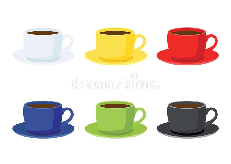 Coffee cup on saucer on white background. And many coffee cups multi color White yellow red blue green black illustration vector vector illustration