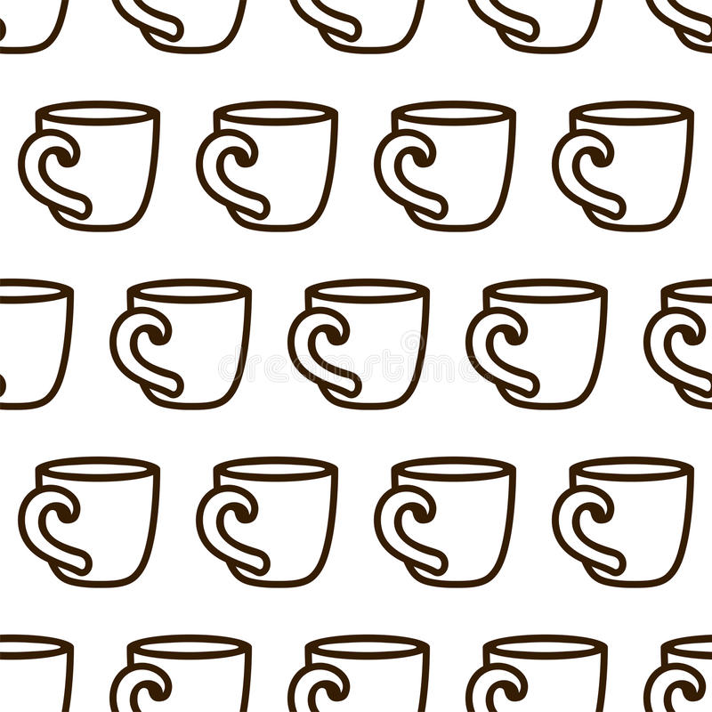 Coffee cup seamless pattern. Cute vector black and white coffee cup pattern. Seamless monochrome coffee cup pattern for stock illustration