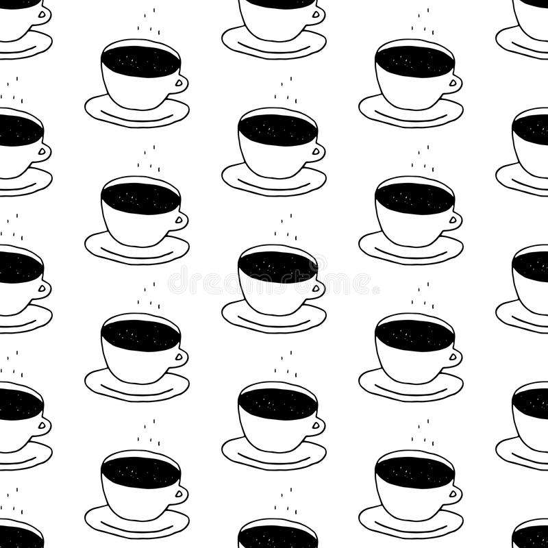 Coffee Cup Seamless Pattern stock illustration