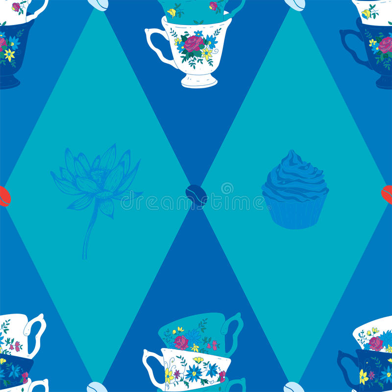 Coffee Cup Seamless Pattern with Spoon, Lotus