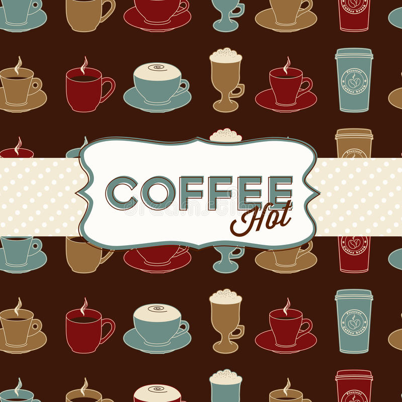 Download Coffee Cup Seamless Pattern With Tag. Vintage Royalty Free Stock Photography - Image: 21874167