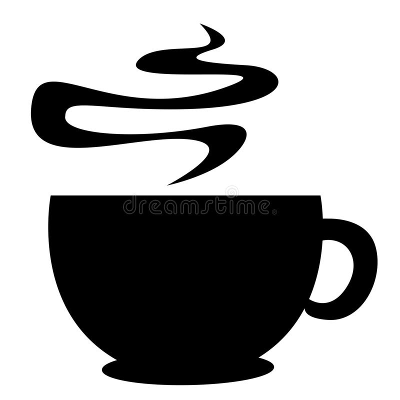 Coffee cup silhouette. Warm coffee cup illustration for coffee shop logos isolated on white background