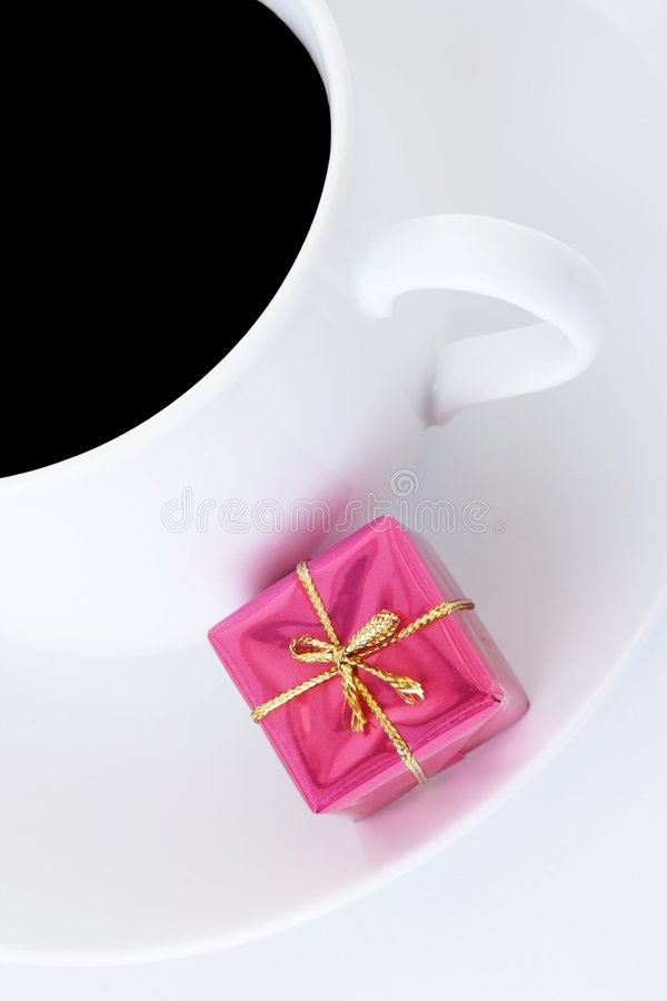Coffee Cup And Small Gift Royalty Free Stock Photos