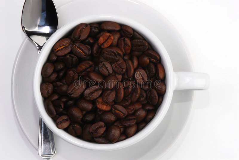 Coffee cup spoon 3. Cappuccino cup and saucer filled with coffee beans. Shot white on white for a clean look, and to highlight the rich colour of the beans royalty free stock photography