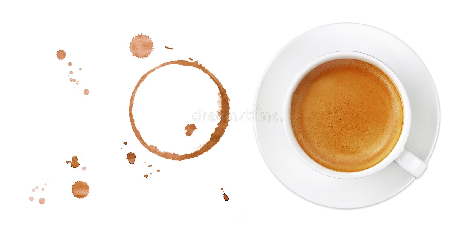 Coffee cup, stains and drops on white background royalty free stock photo